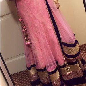 Pink Purple & Gold Lehenga Set saree